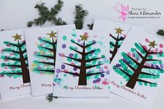Printable Fingerprint Christmas Tree Card - Share & Remember  Click to see how to make at: http://www.thingstoshareandremember.com/printable-fingerprint-christmas-tree-card/