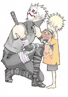(Naruto) Kakashi Hatake, Pakkun and Naruto Uzumaki Naruto Kakashi, Anime Naruto, Naruto Fan Art, Gaara, Anime Chibi, Manga Anime, Naruto Teams, Naruto Cute, Fanarts Anime