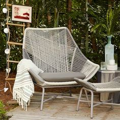 Huron Large Lounge Chair – Gray/Seal | West Elm...do a woven pattern on the back of the office chair like this...