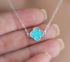 Sterling Silver Clover Necklace Turquoise by divinitycollection