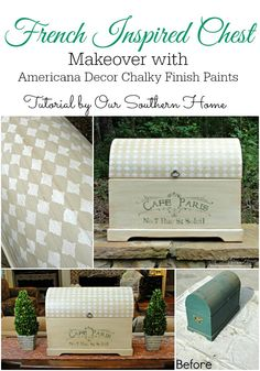 French Inspired Chest Makeover with Americana Decor Chalky Finish Paints via Our Southern Home #chalkyfinish #decoartprojects #sponsored