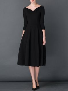 Vintage 3/4 Sleeve A-line Shirred V neck Midi Dress