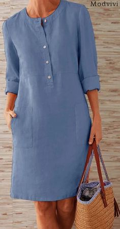 Prime Today🤣Boho Plus Size Elegant Fashion Mini Dress--SHOP NOW Source by suckiegordon dresses elegant Linen Dresses, Casual Dresses, Fashion Dresses, Casual Outfits, Retro Outfits, Mode Jeans, Mode Outfits, Dress Patterns, African Fashion