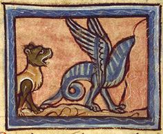 Bibliothèque Nationale de France, fr. 1444b, Folio 249v.  The dragon can't stand the sweet breath of the panther, and tries to hide in a hole.