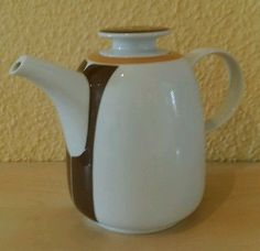 MELITTA-Kaffeekanne-mit-Filteraufsatz-1Liter-70er-Vintage-Retro-weiss-braun