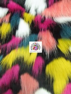 """Black 2 #Tribal Multi Color Long Pile Faux #Fur #Fabric 60"""" Width Sold By The Yard"""