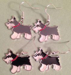 GRAY or BLACK SCHNAUZER DOG EARRINGS - Enamel with Sterling Silver Ear Wires #Handmade