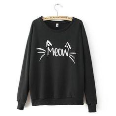 Casaco Gato Meow Blusa-tumblr-feminina Moletom Promoção  d746b9b118f03