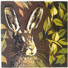 Hare linocut by Floating Rabbit, via Flickr