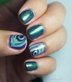 Peacock Nail Art for Short Nails - via Ishah x Beauty