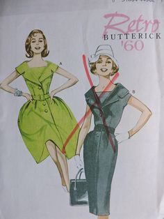 Retro '60 Dress & Belt Fashion Butterick 5747 Pattern Uncut Factory Folded Sz.  8 - 16 Fitted Skirt, Fitted Bodice, Pleated Skirt, Cool Patterns, Vintage Patterns, Fashion Patterns, Costume Patterns, Petite Dresses, Belted Dress