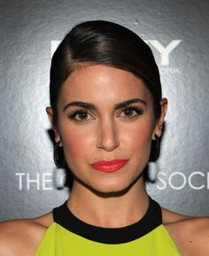 Nikki Reed. Love this look. Very Spring. Bold coral lips and blush with neutral eyes. #makeup