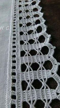 How to Crochet Wave Fan Edging Border Stitch Crochet Edging Patterns, Crochet Lace Edging, Crochet Borders, Thread Crochet, Filet Crochet, Crochet Doilies, Crochet Flowers, Knit Crochet, Tattoo Dentelle