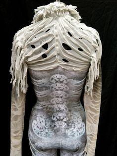 Aerial silks costume / custom dance costume / goth skeleton ghoul ghost zombie / made to order