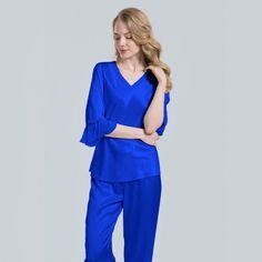 Silk pajamas with lace for ladies - OOSilk Silk Pjs, Silk Pajamas, Pyjamas, Black Skirt Outfits, Winter Skirt Outfit, Silk Sleepwear, Nightwear, Silk Chemise, Pajamas Women