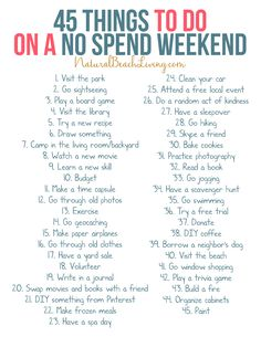 45 Things to Do on a No Spend Weekend from Natural Beach Living