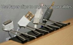 use paper clips to organize cords & cables