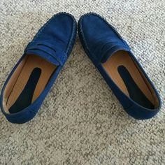 Blue loafers These comfy loafers show some mild signs of wear. Grip on the bottoms is in excellent condition. They are a soft faux suede material with cushioned soles. Thanks for looking! Pierre Dumas Shoes