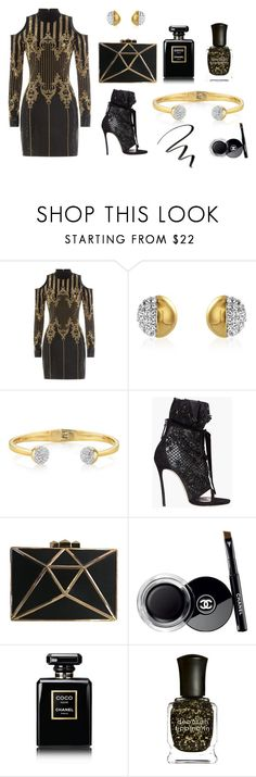 """""""Shimmer and Shine"""" by buckleylondon on Polyvore featuring Balmain, Dsquared2, Chanel, Deborah Lippmann and NYX"""