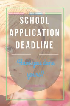 Okay, for anyone who forgot, the school applications deadline to apply for a Primary School for the small people is this coming Monday 15th January