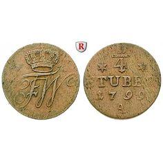 Brandenburg-Preussen, Königreich Preussen, Friedrich Wilhelm III., 1/4 Stüber 1799: Friedrich Wilhelm III. 1797-1840. Kupfer-1/4… #coins