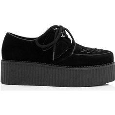 SpyLoveBuy Matilda Flat Chunky Creeper Lace Up Platform Shoes - Black... (380 NOK) ❤ liked on Polyvore featuring shoes, black, black creeper shoes, platform shoes, flat platform shoes, chunky platform shoes and black shoes