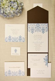 Hydrangea cornflower blue and mocha brown pocket wedding invitation, great for the budget!  papermyday.com