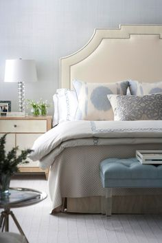 Suzie: Muse Interiors - Stunning white & blue bedroom with ivory leather headboard with silver ...