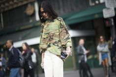 Gilda Ambrosio's oversized camo was straight off the catwalk from Kanye West's second fashion collection for Adidas