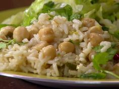 Coconut-Ginger Rice with Chickpeas and Chiles Recipe | Rachael Ray | Food Network