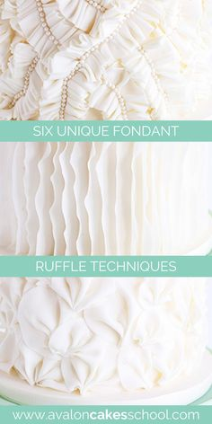 Learn how to make fondant ruffles for  your next wedding cake ! In this fondant ruffle cake tutorial, you'll learn how to make six different unique ruffles out of fondant for your cake designs. In this tutorial you'll learn: Classic Vertical Ruffles, Frilled Ruffles, Linear Horizontal Ruffles, Romantic Horizontal Ruffles, Pleated Ruffles, and Gathered Ruffles. Get instant access to our fondant cake decorating tutorial today. Avalon Cakes School has hundreds of tutorials. Cake Decorating For Beginners, Creative Cake Decorating, Cake Decorating Techniques, Cake Decorating Tutorials, Ruffle Cake Tutorial, Drip Cake Tutorial, Fondant Cake Tutorial, Themed Wedding Cakes, Wedding Cake Flavors