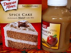 Two-Ingredient Cake Mix Recipes Here's what I used to make the applesauce spice muffins.Here's what I used to make the applesauce spice muffins. Spice Cake Mix Recipes, Recipes Using Cake Mix, Dump Cake Recipes, Easy Recipes, Apple Dump Cakes, Free Recipes, Cooking Recipes, Cake Mix Muffins, Cake Mix Cookies