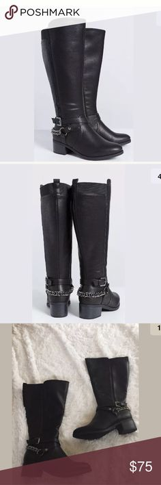 NEW Lane Bryant black chain riding boots size 11W Lane Bryant riding boots  Size 11W  Black faux leather with chain detail  New !!! Lane Bryant Shoes Heeled Boots