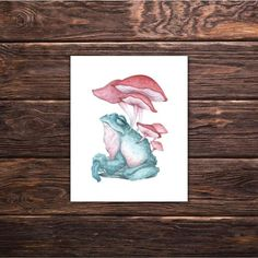 Frog Art Print 'Guardian in Green' wicca decor magick witchcraft decor frog print frog lover mushroom print by tifengland