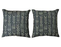 Blue and White Geometric Velvet Quadrille Pillows Set of 2 | The  Local Vault