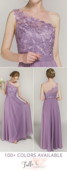 one shoulder chiffon bridesmaid dresses with lace details