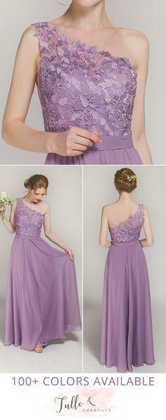 one shoulder chiffon bridesmaid dresses with lace details
