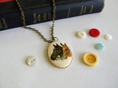 Kentucky Derby vintage horse cameo necklace by MeredithGrace, $14.00 Great jewelry website!!!