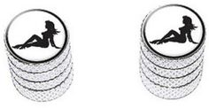 """Amazon.com : (2 Count) Cool and Custom """"Diamond Etching Sexy Mudflap Girl Top with Easy Grip Texture"""" Tire Wheel Rim Air Valve Stem Dust Cap Seal Made of Genuine Anodized Aluminum Metal {Animated Subaru Silver and Black Colors - Hard Metal Internal Threads for Easy Application - Rust Proof - Fits For Most Cars, Trucks, SUV, RV, ATV, UTV, Motorcycle, Bicycles} : Sports & Outdoors"""