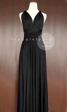 MAXI Length Black Bridesmaid Convertible Infinity by thedaintyard, $48.00