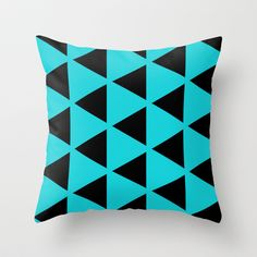 Sleyer Black on Blue Pattern Throw Pillow by Stoflab