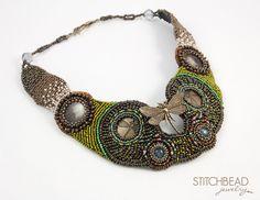 DRAGONFLY| Stitchbead Jewelry. Brass dragonfly, flat brass cabochons with…