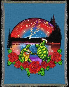 Terrapin Lake ~ Grateful Dead Artwork by Taylor Swope Grateful Dead Blanket, Grateful Dead Image, Surreal Artwork, Terrapin, Lake Art, Detail Art, Visionary Art, Recycled Art, Psychedelic