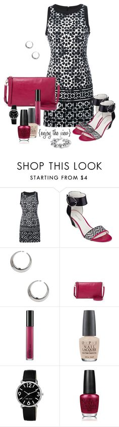 """""""Fashion for Friday: Black & white with a Pop!"""" by enjoytheview ❤ liked on Polyvore featuring MICHAEL Michael Kors, Nine West, Forever 21, FOSSIL, MAC Cosmetics and OPI"""