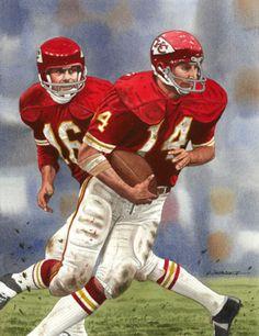 Len Dawson/Ed Podolak Nfl Football Helmets, Nfl Football Players, Football Memorabilia, Football Art, School Football, Vintage Football, Fantasy Football, American Football League, Association Football