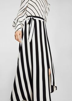 Striped asymmetric skirt | MANGO