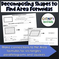 This lesson begins by activating students' prior knowledge by showing them a picture of rectangle, parallelogram and triangle, and prompting them to write everything they know about that shape for one minute. Students then start by reviewing the area formula for the foundation shape, a rectangle. Th... Area Formula, Graph Paper, Writing Prompts, Vocabulary, Triangle, Foundation, Students, Knowledge, Shapes