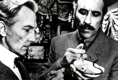 Peter Cushing and Christopher Lee in HORROR EXPRESS (1972)