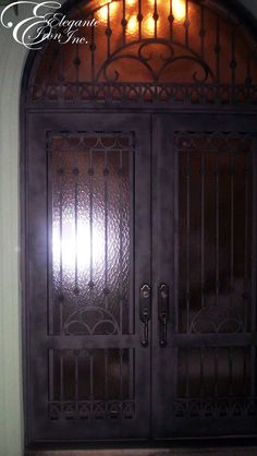 Custom wrought iron door with attached full arch transom. Entry Doors, Front Doors, Wrought Iron Doors, Spanish Style, Double Doors, Arch, Furniture, Home Decor, Longbow