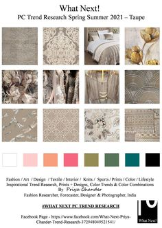 #Taupe #taupecolor #neutralcolors #SS2021 #WhatNextPCTrendResearch #PriyaChanderDesigns #FashionForecastByPriyaChander #ColorTrendsByPriyaChander #fashionconsultant #fashiondesigner #springsummer2021 #fashionforecaster #fabricprints #interiordecor #fashionforecastspringsummer2021 #interiors #homedecor #InteriordesignTrends #knitwear #hautecouture #fashionweekSS2021 #colortrendsSS2021 #fashionforecast #fashion #art #design #fashionresearch #fashionforecasting #sportswear #wallart #folkart… Knit Fashion, Fashion Fabric, Fashion Art, Spring Color Palette, Spring Colors, Color Trends, Design Trends, Fashion Forecasting, 2020 Fashion Trends